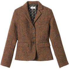 Herringbone Tweed Jacket (475 BRL) ❤ liked on Polyvore featuring outerwear, jackets, coats, blazers, women, herringbone tweed blazer, brown tweed jacket, wool tweed blazer, brown herringbone blazer and brown jacket