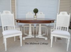 hand painted dining set with stained top. By the Midwest Cottage