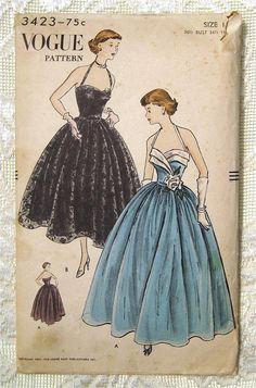 Vintage 50s Rockabilly Halter Evening Prom