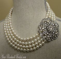 Complete Bridal Jewelry Set 4 Strand Swarovski Pearls Necklace Bracelet Earrings by AlexiBlackwellBridal, $225.00