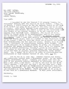 """Letter to Jeff Walker regarding """"Blade Runner""""    Philip K. Dick wrote this letter after seeing his first glimpse of Blade Runner in a television segment. To the best of the family's knowledge, this letter has never been previously released to the public."""