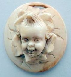 Ivory Button with a circus child