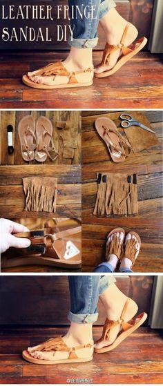 DIY Leather Fringe Sandal DIY .