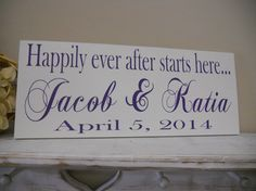 Happily Ever After Starts Here wedding sign by SweetDayDesigns, $40.95