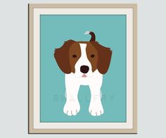 Brittany Spaniel dog print Puppy nursery artwork 11x14 by Wallfry, $22.00