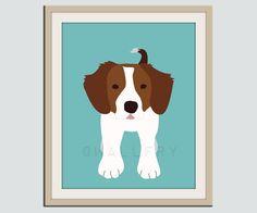 Brittany Spaniel dog print Puppy nursery artwork 11x14 by Wallfry, $22.00