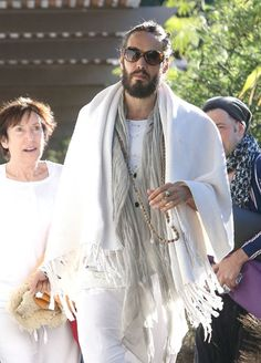 Russell Brand looks like a holy man as he heads to his yoga class on October 25th.
