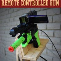 We just made an amazing remote control gun you have to check out. You've never seen anything quite like it.  You build this surprisingly inexpensive home security device with bike gears and cables to create a manual pulley system that really works.  You can operate this gun from afar, unseen by any lurking