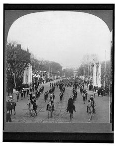 Courtesy of the Library of Congress, #LC-USZ62-560009. Six Indian leaders passing in review before President Roosevelt during his 1905 Inaugural parade. Left to right: Buckskin Charlie, Ute; American Horse, Oglala Sioux; Quanah Parker, Comanche; Geronimo, Chiricahua Apache; Hollow Horn Bear, Brule Sioux. Little Plume, Piegan, is not shown.