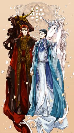Maedhros and Fingon (and no, those aren't unicorns, the horns are decoration of the horses' armor. I hope.)