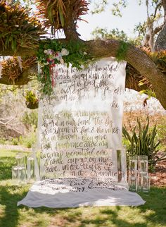 calligraphy backdrop | Emily Katharine Photography | Glamour & Grace