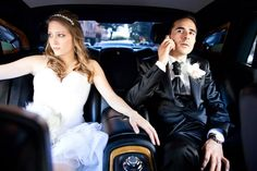 Bride and groom in Rolls Royce