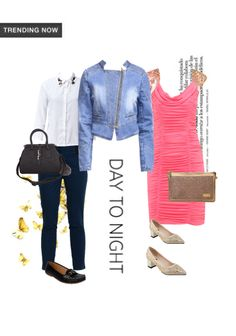 'Day to Night' by me on Limeroad featuring Mid Rise Blue Trousers, Gold Pumps with Gold Clutches