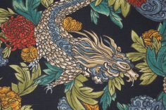 Robert Allen Ming Dragon Printed Crypton Cotton Decorator Fabric in Admiral