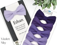 Our latest Violet Sky collection offers a gorgeous ombre of purple! From our deepest Royal Purple to the lightest Iris (lilac), youll find the perfect shade to match your palette. Choose one, or select them all! PR12 is a wonderful complement to Davids Bridal Hydrangea. PR18 is well-suited for Groomsmen Suspenders, Bowtie And Suspenders, Purple Bow Tie, Ring Bearer Outfit, Suspender Clips, Lilac Grey, Bow Tie Wedding, Boys Bow Ties, Rings For Girls