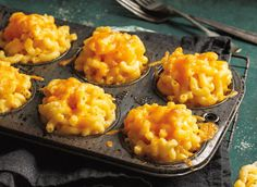 Mac 'n Cheese Muffins - My Milk Calendar Recipes | Dairy Goodness (add bacon for flavour(