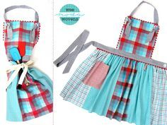 Fat Quarters Plaid Apron in Moda's Wee Wovens Brights | Sew4Home