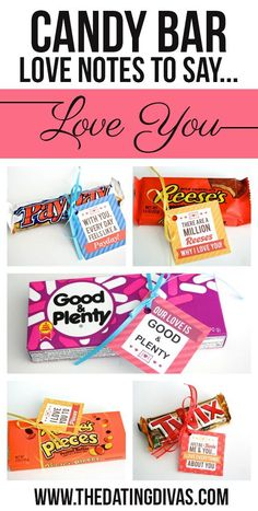 Printable candy bar gift tags! Perfect for an anniversary, birthday, Valentines, or just because! Hide them around the house or put them all into a fun candy bouquet or gift basket. www.TheDatingDivas.com