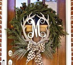 """Single Letter 19.5"""" Wooden Antler Front Door Hanger, Window Hanger, Wall Hanger & Decor"""