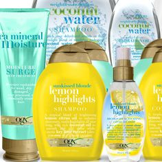 New from OGX : Coconut Water, Lemon Highlights and Sea Mineral Moisture Collections