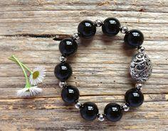 Black Onyx Gemstone Bead Bracelet, Unique Gift, Birthday, Christmas by TJBsimplebeauty on Etsy