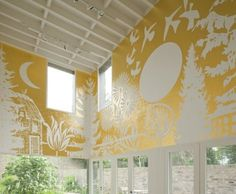 "By Paul Morrison, ""Asplenium"", 2010 – Acrylic paint and 24-carat gold leaf comprise this sun-drenched mural."
