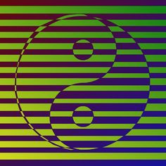 Tropically coloured ying yang for good luck