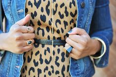 Leopard flare dress and gold jewelry. Love!
