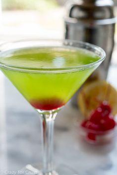 Midori Martini, an easy, delicious, and beautiful cocktail recipe.