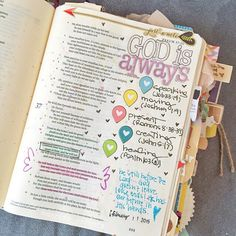 [psalm 37:5] lots of stickers and journaling in Bible, #illustrated faith