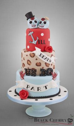 Rockabilly Sugar Skulls Wedding Cake -- not my  jam, but i have friends who would love this.