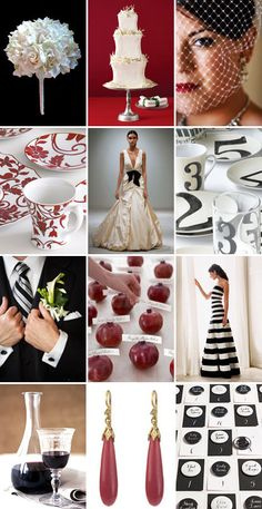 Black white and red wedding theme. Any other party too. Love the color way