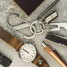 Timex Weekender, Nite-Ize S-biener #3, Inchworm, Freekey ring, Nite-ize Doohickey, cash capsule, tactical pen.