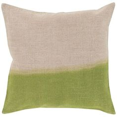 Dip Dyed Neutral and Green 22-Inch Pillow Cover