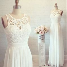 chiffon wedding dress with lace ,cheap wedding dress ,A-line wedding dress…