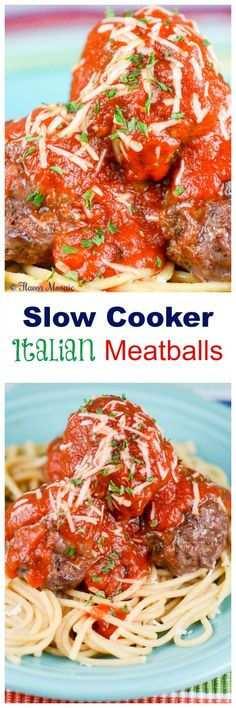 This Slow Cooker Italian Meatballs recipe makes a family favorite Italian-American main dish even easier by making it in the slow cooker. ~ http://FlavorMosaic.com