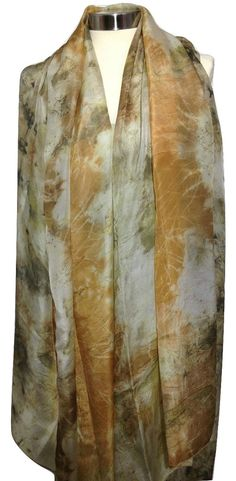 Silk Scarf Eco Print Women Scarf Orange Scarf by rachelsilkscarves
