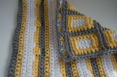 back side of yellow, grey and white Squares Squared Block crochet ~ free pattern