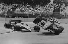 Car 8: Andrea de Cesaris (Ita.) - Brabham BMW BT56 and Car 25: Rene Arnoux (Fr.) - Ligier Megatron J829 - 1987 Australian Grand Prix