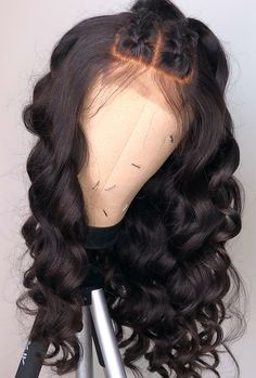 Buy this long wavy wigs for black women lace front wigs human hair wigs african american wigs the same as the hairstyles in picture Curly Hair With Bangs, Curly Hair Styles, Natural Hair Styles, Curly Wigs, Human Hair Wigs, Lace Front Wigs, Lace Wigs, Brazilian Hair Bundles, Weave Hairstyles