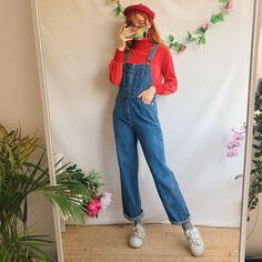 2a2506b1b44 Ahh the perfect pair of vintage blue denim vintage dungarees - Depop Grunge  Outfits