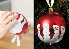 Snowmen Handprint... cute ornament to make with your little ones! #ornament #exchange #holiday #party #diy