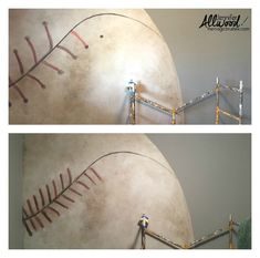 Noah's Baseball Mural Room - Jennifer Allwood Home Boys Baseball Bedroom, Baseball Wall, Baseball Photos, Baseball Painted Walls, Baseball Painting, Baseball Boyfriend Gifts, Mlb, Beige Paint, Favorite Paint Colors