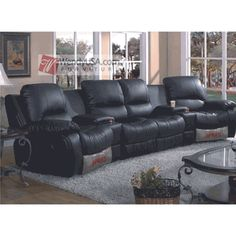 5 Pieces Black Leather Match Double Recliner Sectional Sofa Couch