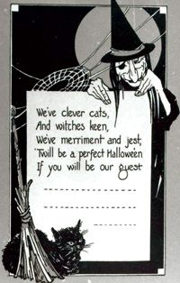 """Vintage Halloween Ephemera ~ """"We've clever cats, And witches keen, We've merriment and jest, 'Twill be a perfect Hallowe'en If you will be our guest"""" * Witch Party Invitations * Circa, 1910-1915"""