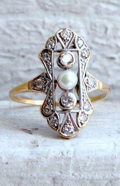 Art Deco Diamond & Pearl Ring
