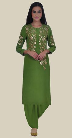 Mehandi Green Hand Embroidered Gota Patti Pure Crepe Suit