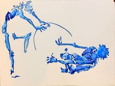 2 minute poses 30x40 blue ink