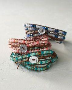 Chan Luu for Garnet Hill Gemstone Wrap Bracelet