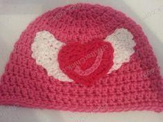 Jordan's Pink Angels Beanie Hat Crochet Pattern - free crochet angel wing heart hat pattern